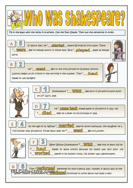 Workbooks shakespeare worksheets : WHO WAS SHAKESPEARE? - PAST SIMPLE   ELT   Pinterest   English ...