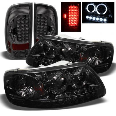 Ford F150 1997 2003 Smoked Projector Headlights And Led Tail Lights With Images Ford F150 Accessories