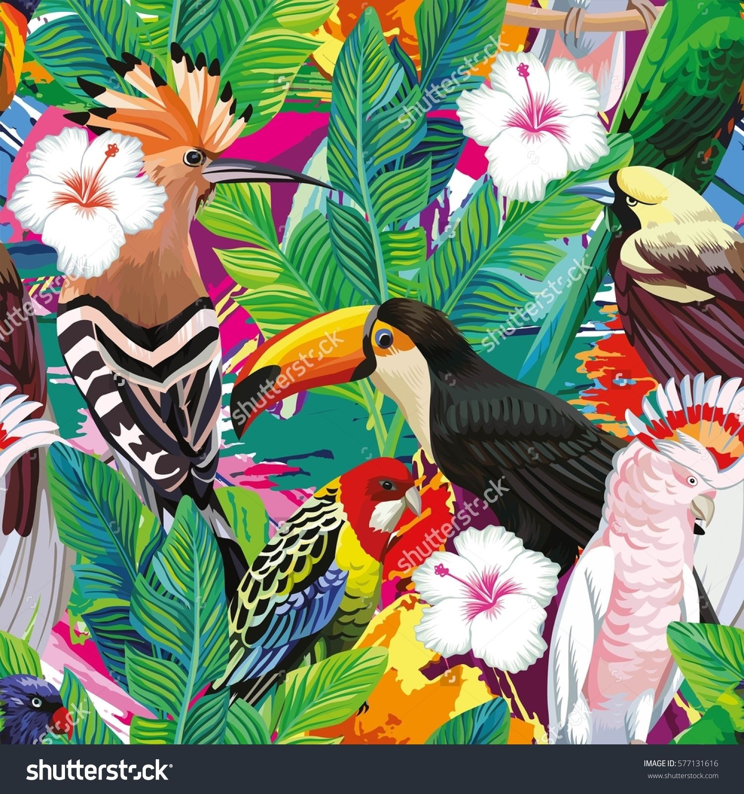Vintage Style Tropical Bird And Flowers Background: Seamless A Composition Of Tropical Bird Toucan, Parrot