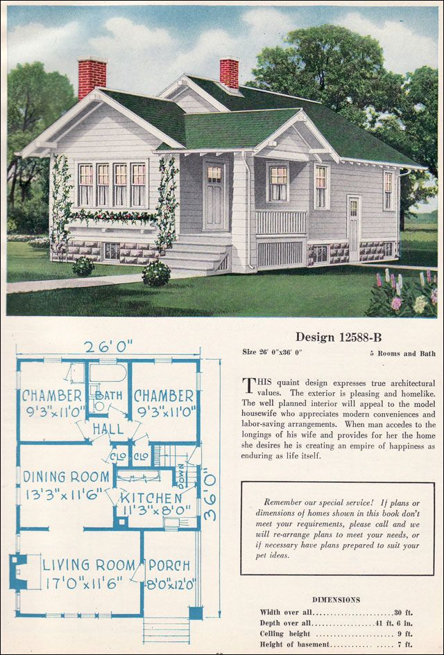 Small Bungalow Cottage Vintage American Residential Architecture C L Bowes Company C 1923 Sims House Plans Vintage House Plans House Plan Gallery