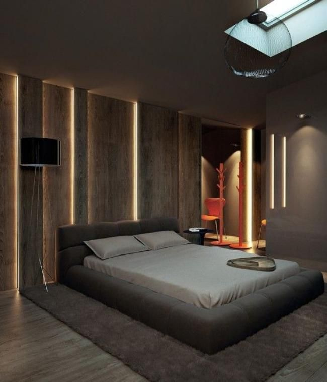 Bedroom Interior Design: Cool Masculine Bedroom For Mens With LED Lighting Wall