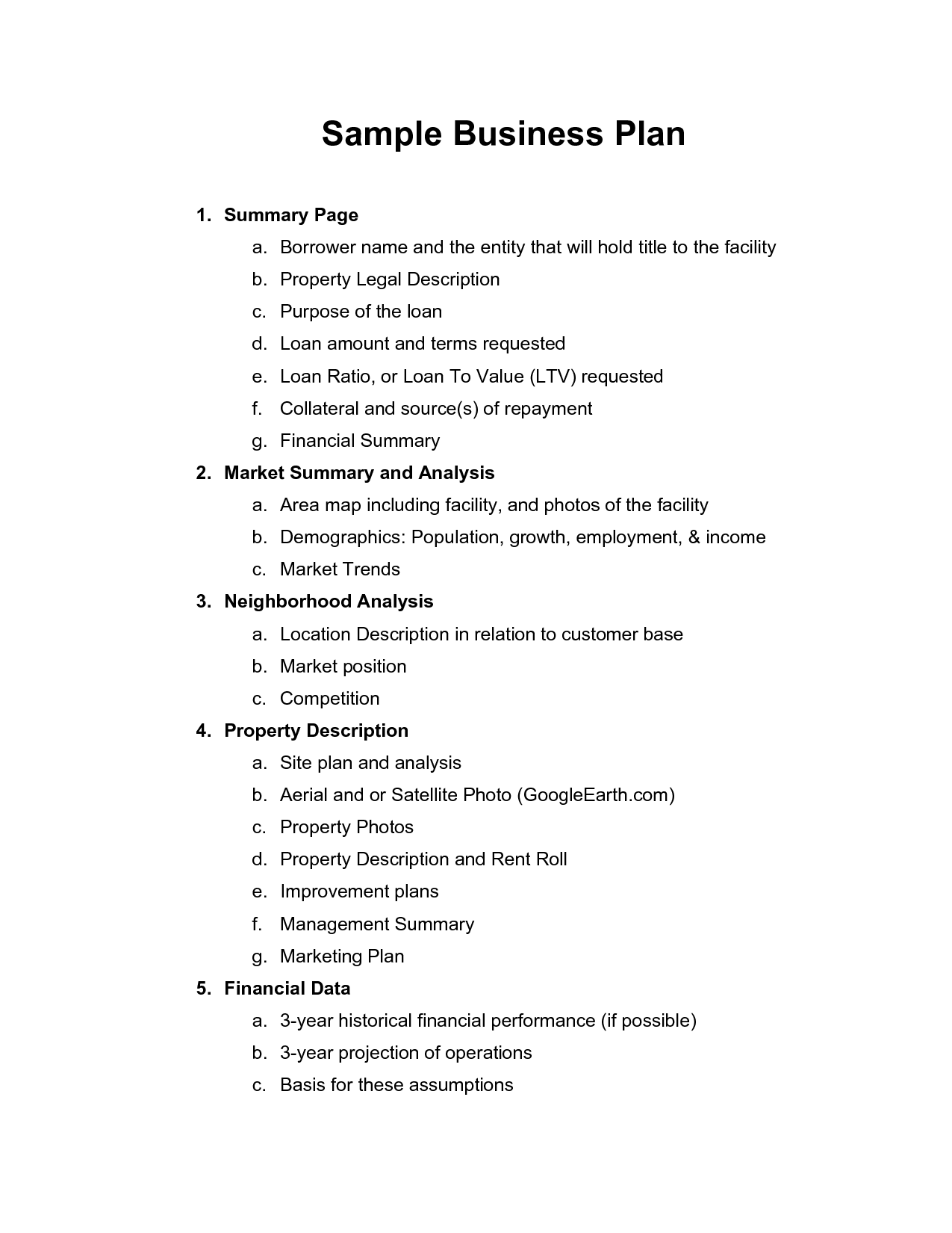 Free Printable Business Plan Sample Form Generic With