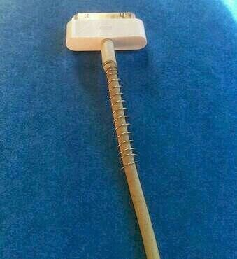 Take the spring out of a pen wrap your iPhone cord push to the very end & this will make your cord last longer!!