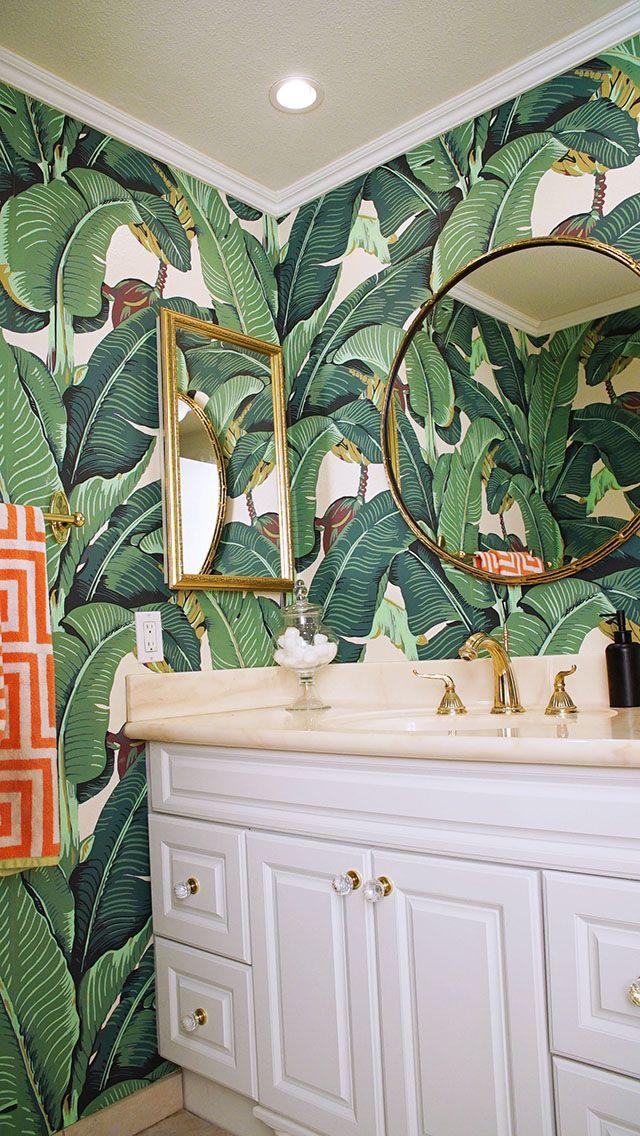 Glam Banana Leaf Wallpaper | Decor | Bathroom wallpaper ...