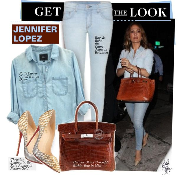 Get The Look: Jennifer Lopez by hamaly on Polyvore featuring rag & bone, Christian Louboutin, Hermès, Jennifer Lopez, GetTheLook, StreetStyle, celebstyle, DenimStyle and JenifferLopez