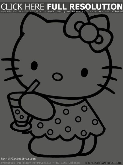 sweet hello kitty drinking juice coloring page for girls letscoloritcom