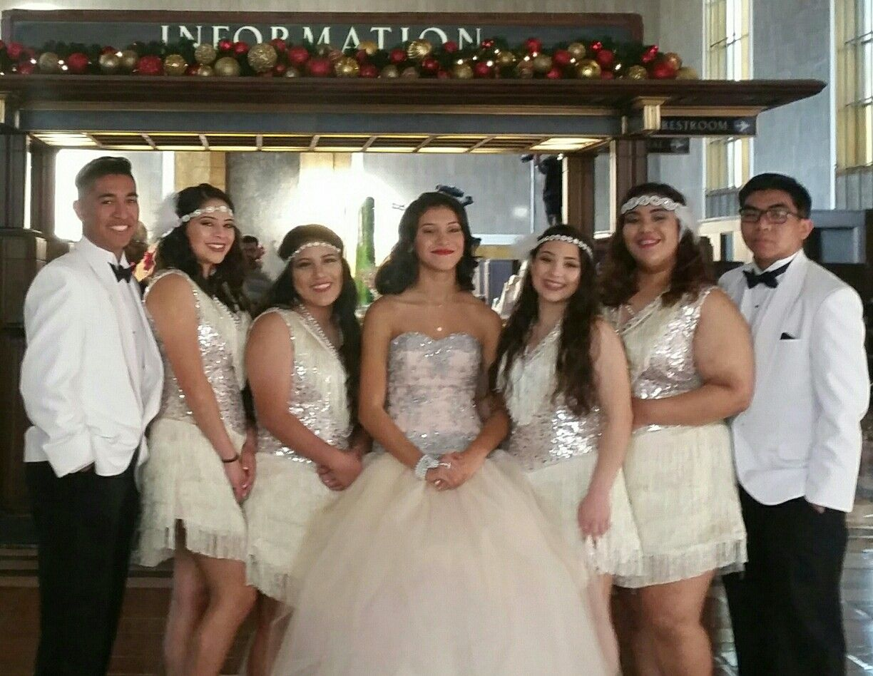 dd197a38eb9 Great Gatsby themed Quinceanera court