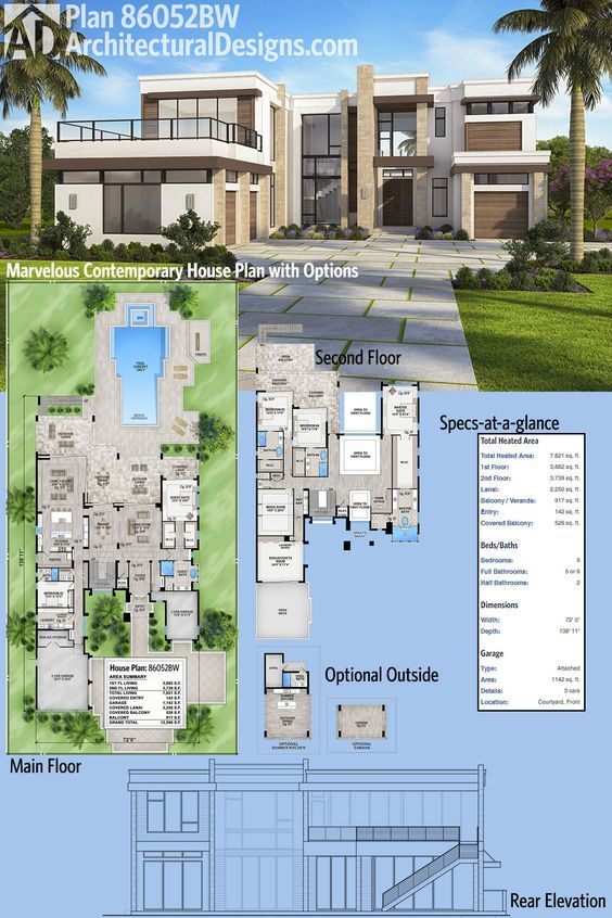 Plan 86052bs Marvelous Contemporary House Plan With Options Contemporary House Plans Luxury House Plans Modern House Plans