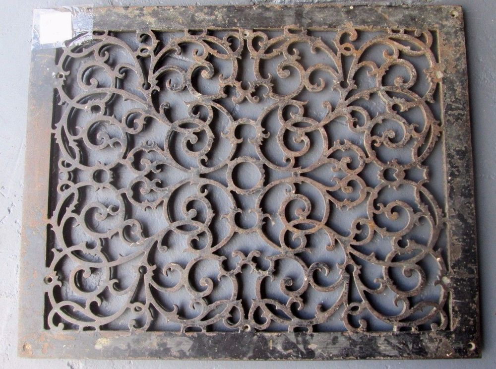 Antique Large Cast Iron Scrolly Victorian Cold Air Return