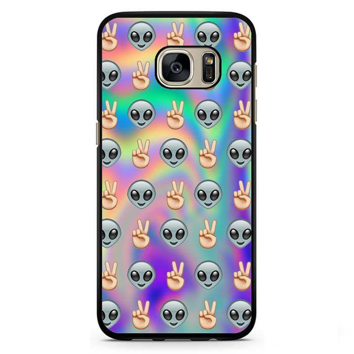 Psychedelic Alien Emoji Pattern Phonecase Cover Case For Samsung Galaxy S3 Samsung Galaxy S4 Samsung Galaxy S5 Samsung Galaxy S6 Samsung Galaxy S7 Phone Cases Samsung Galaxy Samsung Phone Cases Alien