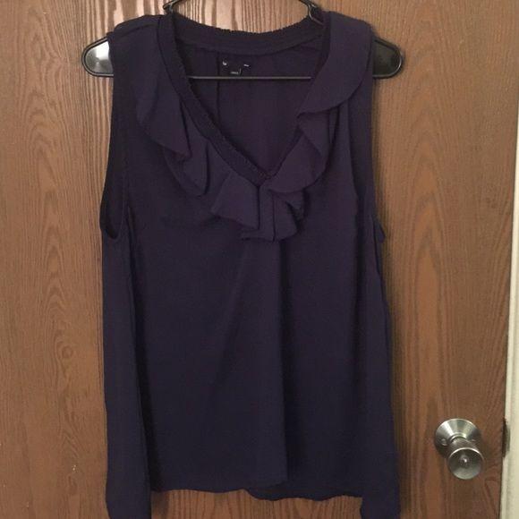 Gap short sleeved blouse Gap short sleeved, ruffled, like new blouse. Color is eggplant. GAP Tops Blouses