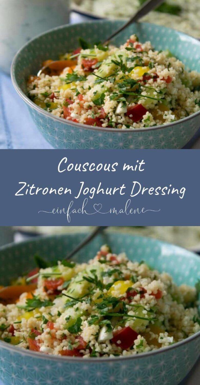 Perfekt zum Grillen: Vegetarischer Couscous Salat mit Zitronen Joghurt Dressing