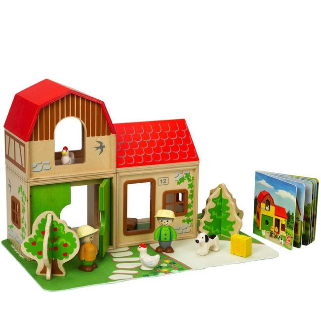Hape Farm Family With Barn Farmhouse Kid Stuff Hape Toys
