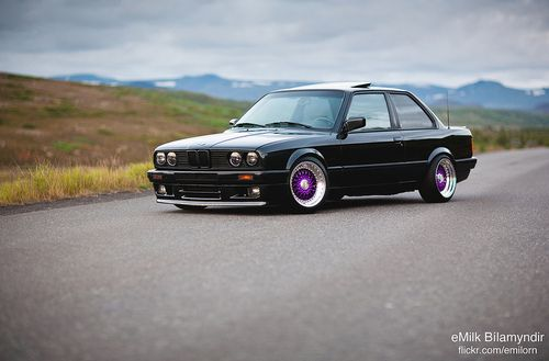 E30 With An M50B25 Swap And Purple BBS RS's From Iceland