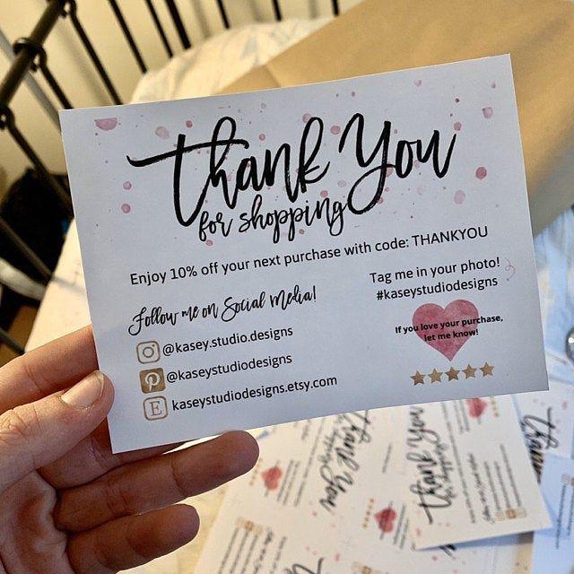 four 4 diy printable small business thank you card