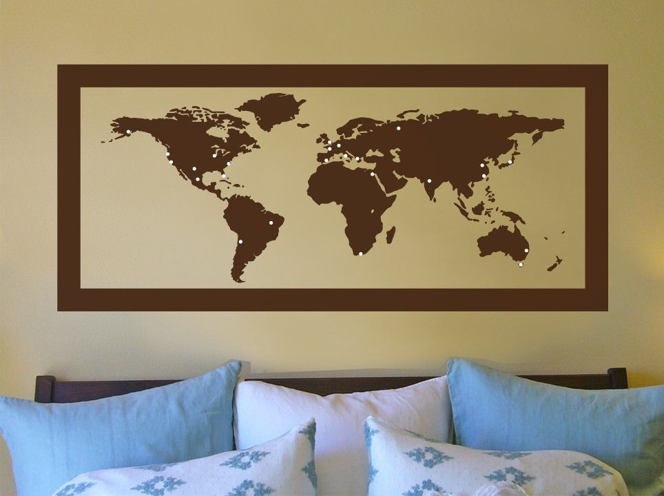 World map with travel markers large vinyl wall art by decalfarm world map with travel markers large vinyl wall art by decalfarm 5500 gumiabroncs Choice Image