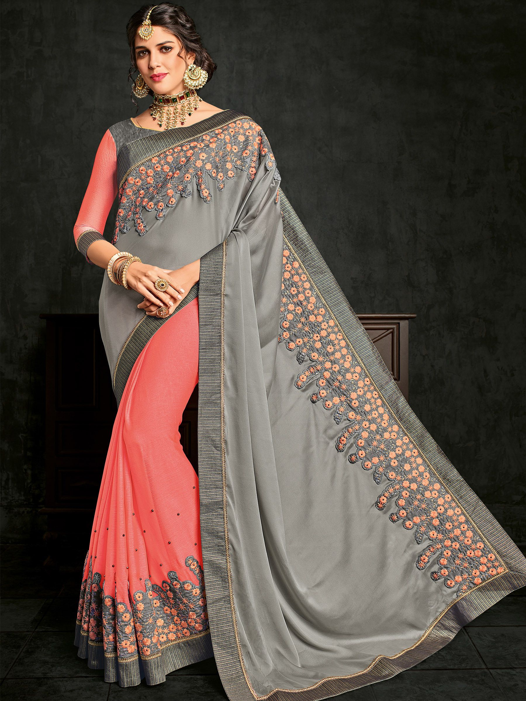 5ac9019e2c4e58 Buy online grey and pink colour designer heavy Bright georgette and moss chiffon  saree #saree, #Wedding, #Hot, #Blouse, #Pattu, #Draping, #Farewell, ...