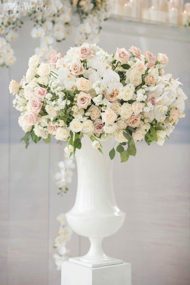 Pastel wedding ceremony flowers in large white vases tall pastel wedding ceremony flowers in large white vases reviewsmspy