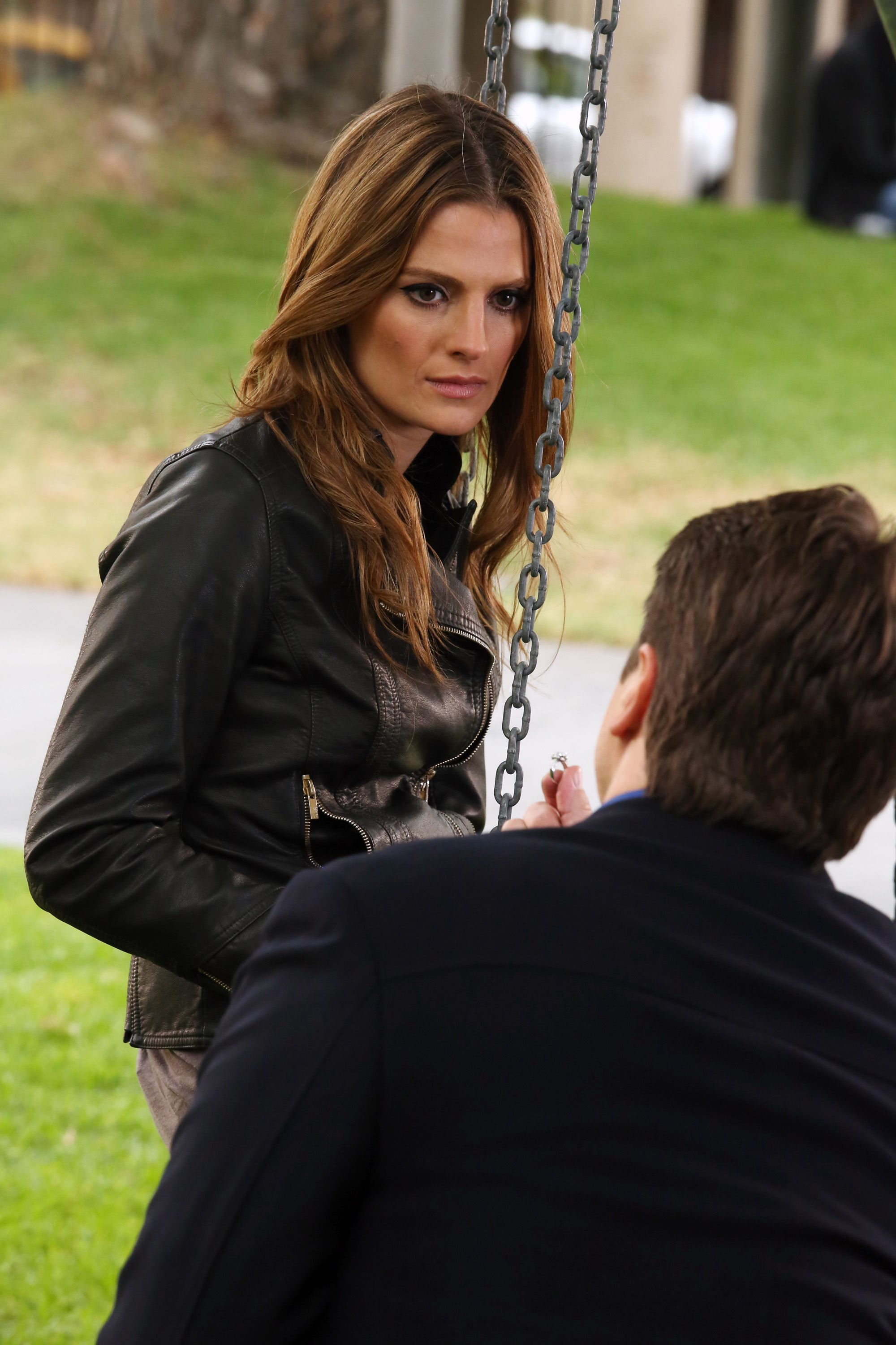 """I've said this once before but I'm going to say it again. I think it was perfect that Castle proposed at a swing set because in the episode """"Always"""" Beckett was on swing set when she realized she wanted to be with Castle."""