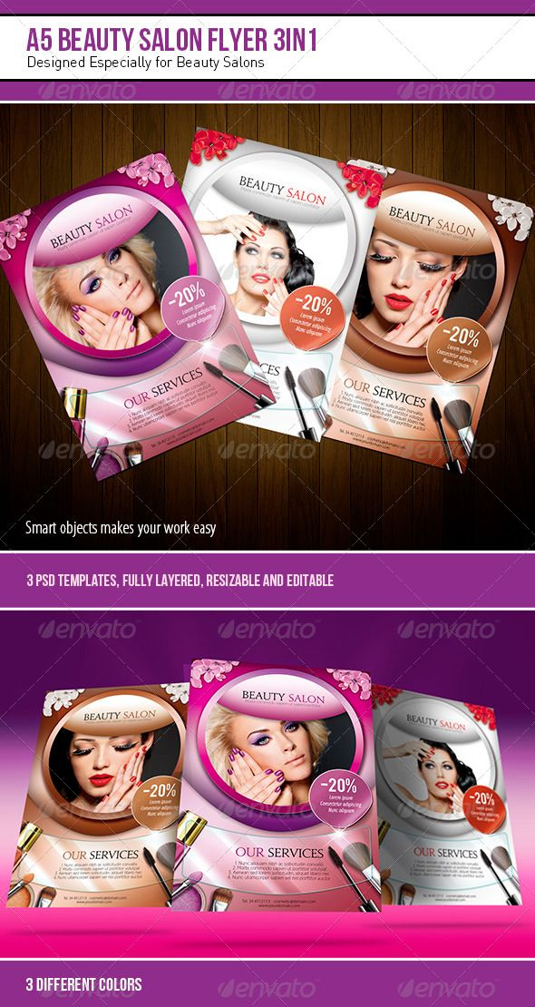 A5 Beauty Salon Flyer u2013 3 in 1 A5, Salons and Template - hair salon flyer template