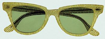 Sunglasses made in bronze and green crystals belonging to Marilyn Monroe. These glasses were worn by Marilyn on a trip to Washington DC in support of Arthur Miller during his trial, 16 April 1957. From the Maite Minguez Ricart Collection.