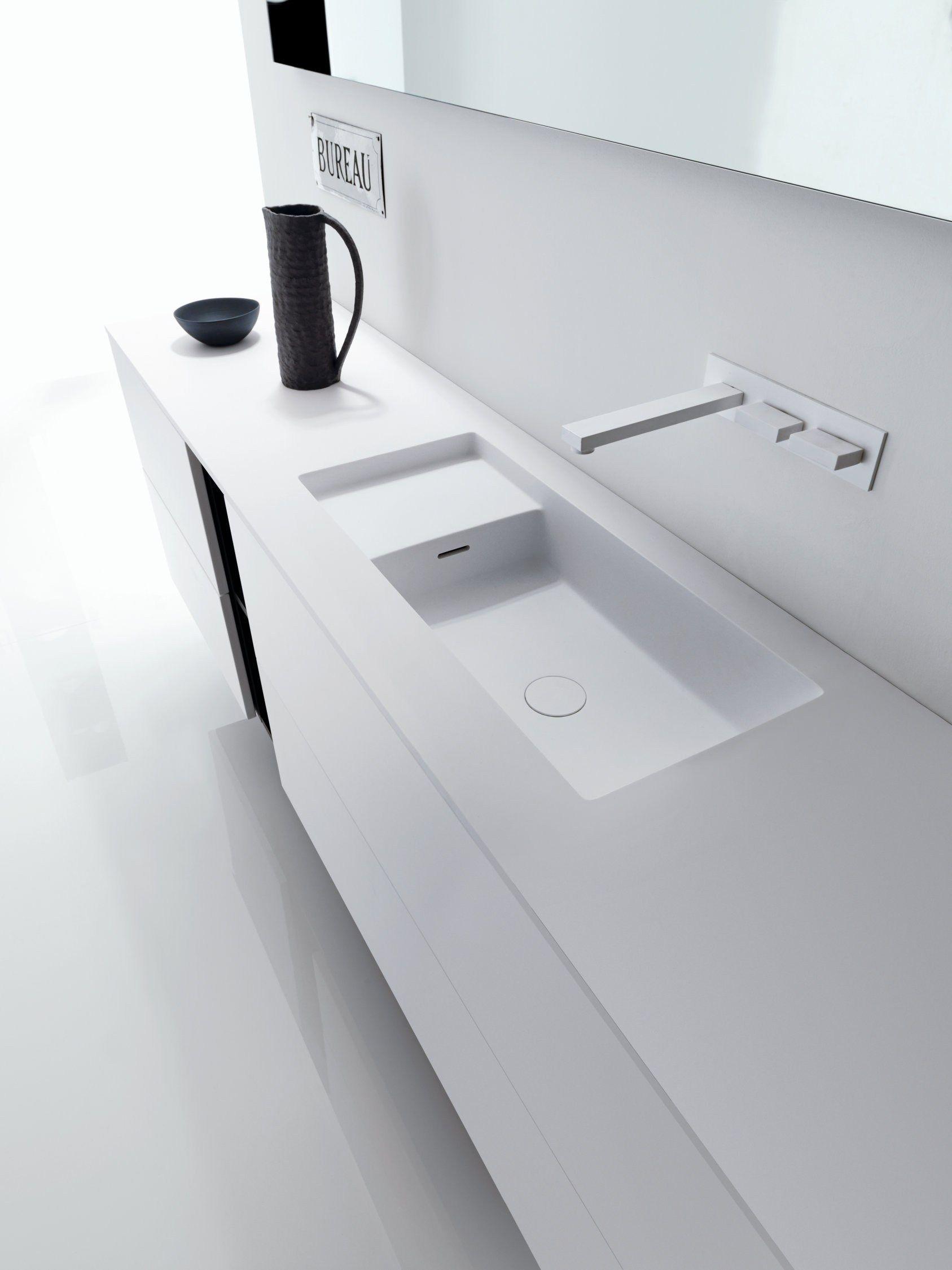 SQUARE | Piano in Cristalplant® Biobased con lavabo integrato ...