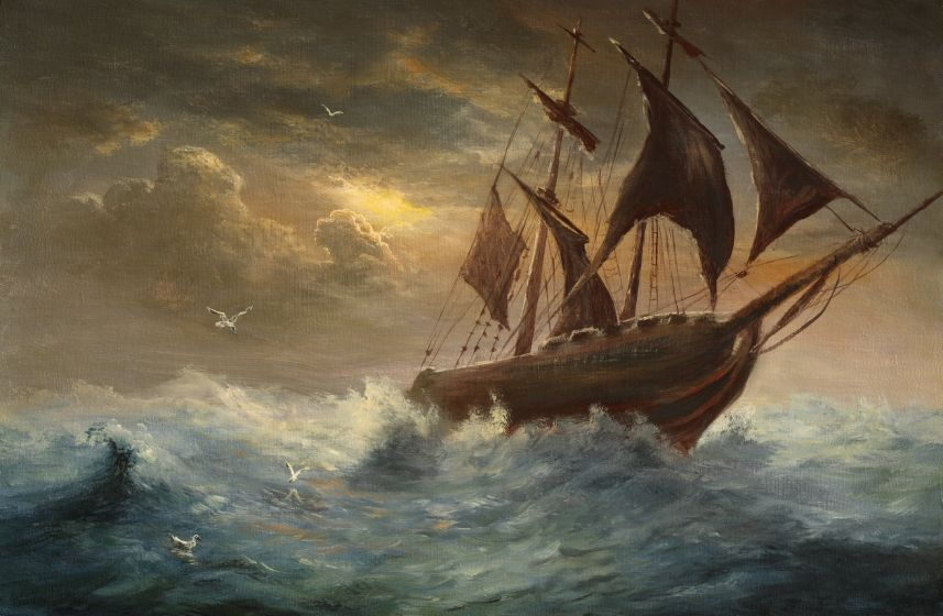 All at sea (keeping your ship afloat) | Marine painting, Painting ...