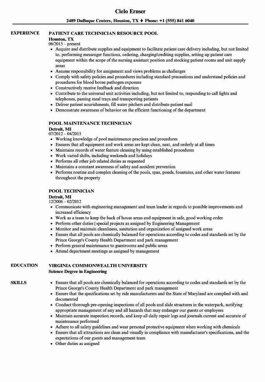 Lube Technician Job Description Resume Lovely Pool Technician Resume Samples Resume Examples Manager Resume Graphic Design Resume