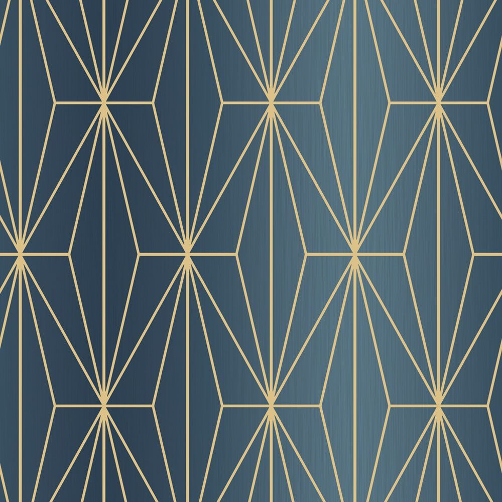 Kayla Metallic Geometric Wallpaper Blue / Bronze Muriva
