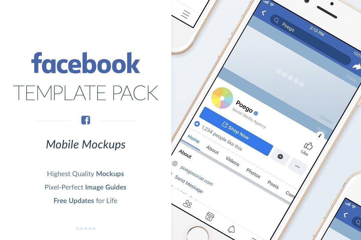 Facebook Mobile Mockups Pack Facebook Templates Social Media Template Social Media