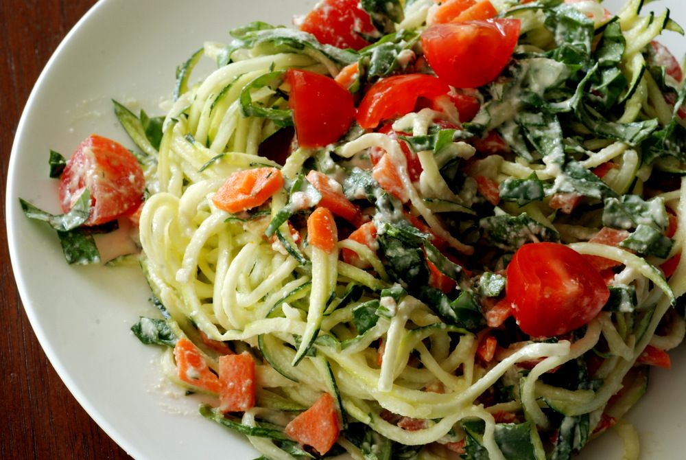 Raw alfredo sauce with basil cherry tomatoes and zucchini noodles pasta with raw alfedo sauce with basil cherry tomatoes and zucchini noodles forumfinder Choice Image