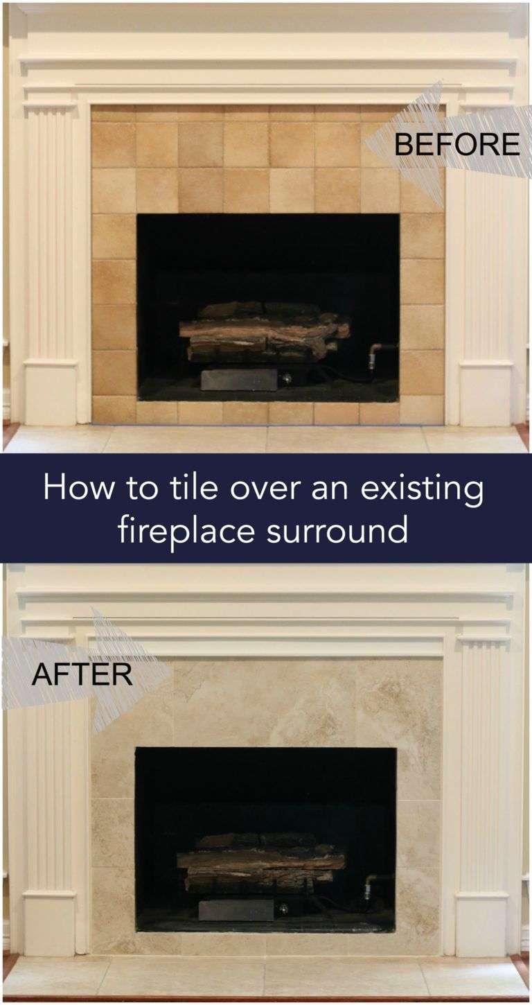 How To Tile Over An Existing Fireplace Surround My Woodlands Life Fireplace Tile Surround Fireplace Remodel Fireplace Tile