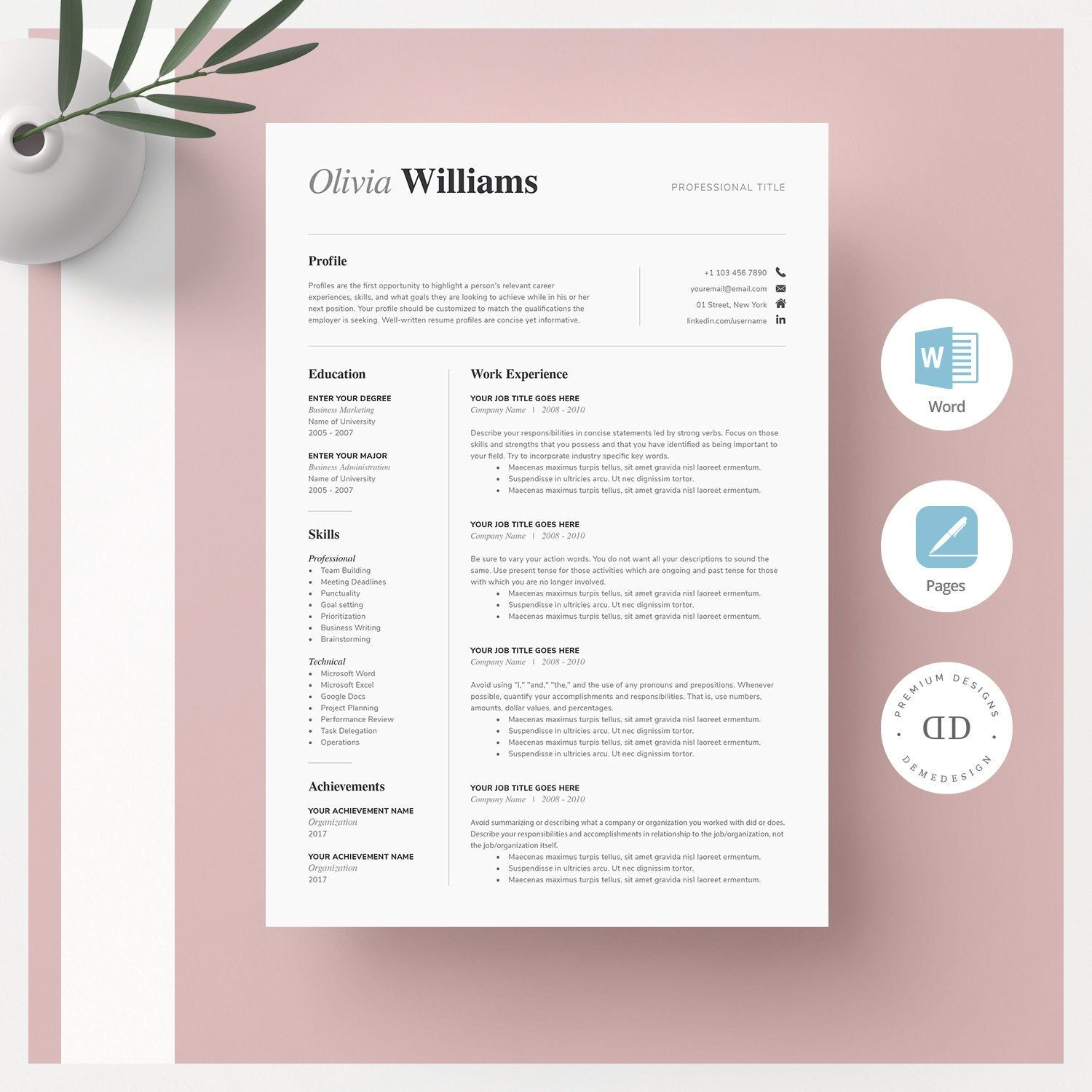 One Page Resume Template Word CV Template + Cover Letter