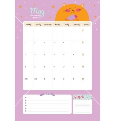 Cute calendar diary template for 2016 with animals vector on