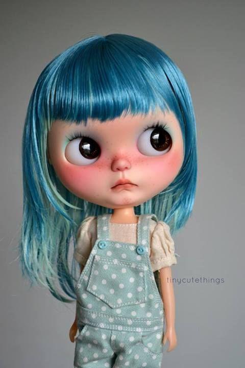 BRIGHT BLUE HAIR DOLL SHABBY CHIC DOLL HANDMADE DOLLS TURQUOISE DOLL