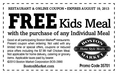 Boston Market Buy One Get One Free Individual Meals Printable Coupon Free Printable Coupons Printable Coupons Kfc Coupons