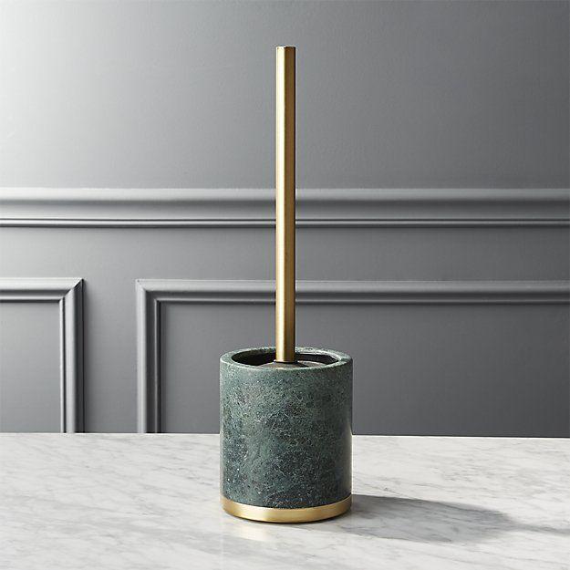 Cb2 Green Marble Toilet Brush Holder Cleaner