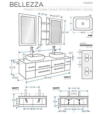 Fresca Bellezza Espresso Modern Double Vessel Sink Bathroom Vanity Bathroom Layout Bathroom Dimensions Bathroom Vanity Sizes