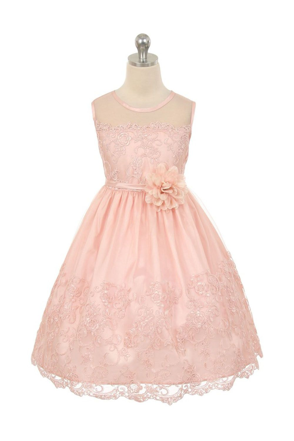 Blush Pink Embroidered Tulle Overlayed Flower Girl Dress With