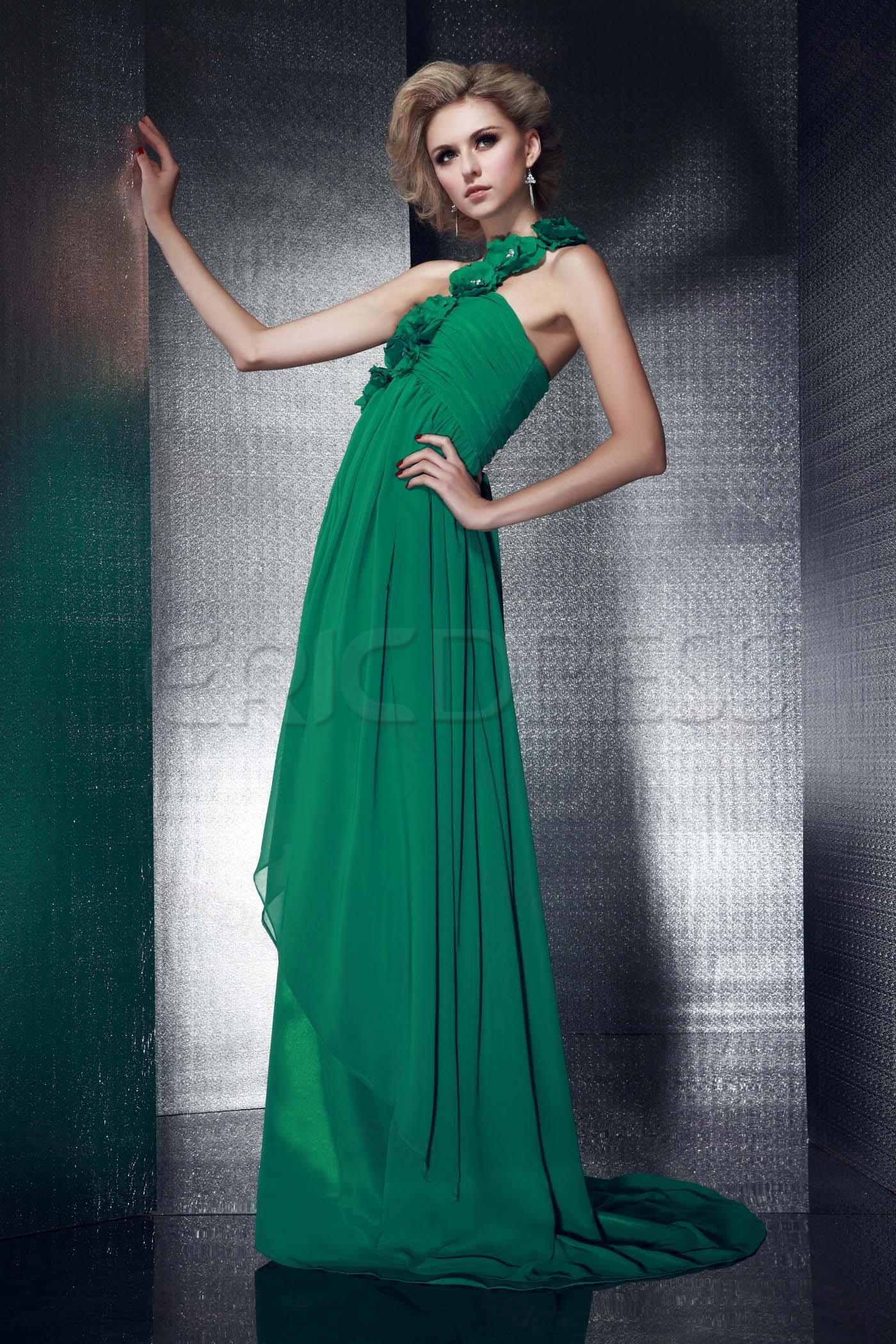 One-Shoulder Floor-length Green