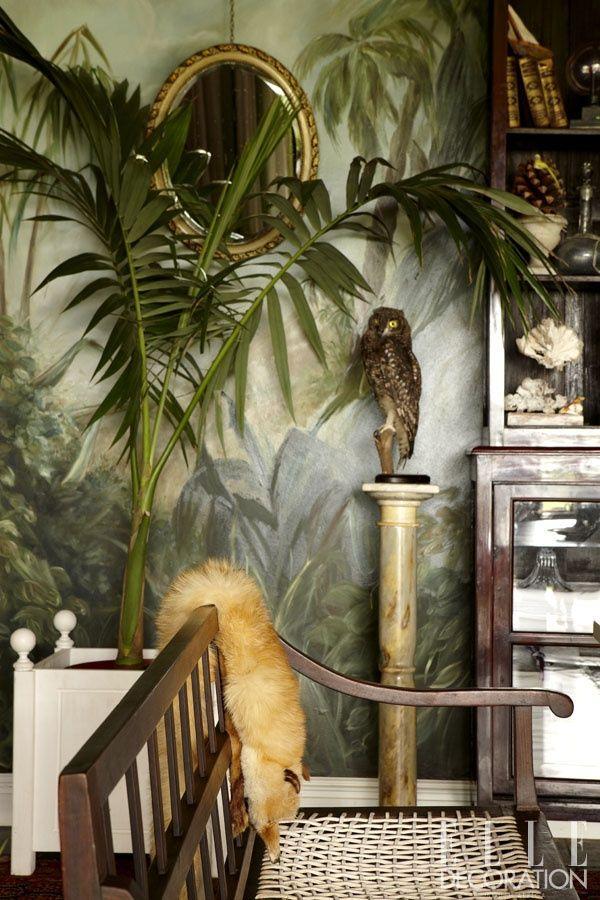Hand Painted Wall Murals Vintage Tropical Bedroom