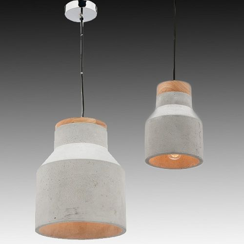 Jar Shade Concrete Pendant Light Shape With Wooden Upper