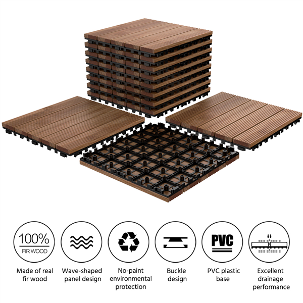 Topeakmart Patio Pavers Decking Flooring Deck Tiles 12 X 12 Interlocking Outdoor Indoor Wood Tiles 11pcs Walmart Com In 2020 Deck Tiles Deck Tile Paver Patio
