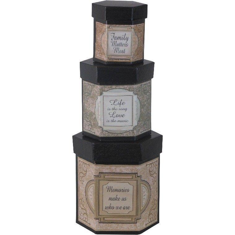 Fireside Home - FB-103  Boxes - Hexagon SM-Family, Life, Memories #home #decor #gift #nestedbox #homeaccent #vintage (http://www.firesidehome.ca/fb-103-boxes-hexagon-sm-family-life-memories/)
