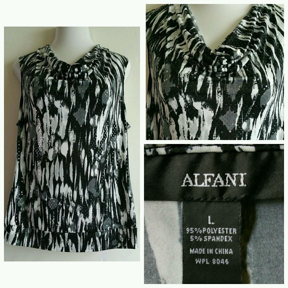 Alfani Womens black and white Print Sleeveless Blouse Size Large L career crawl in Clothing, Shoes & Accessories, Women's Clothing, Tops & Blouses | eBay