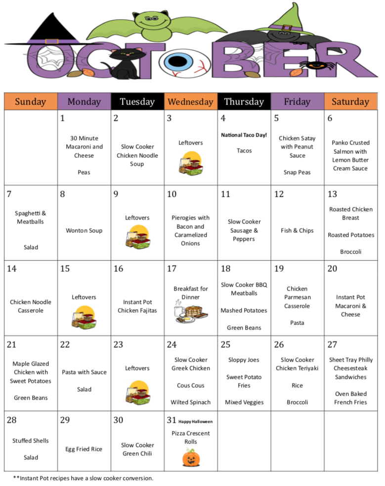 October 2018 Monthly and Weekly Meal Plan w/Grocer