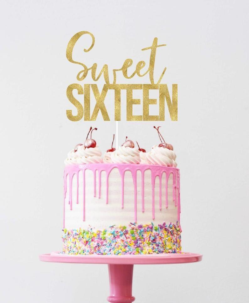 Sweet Sixteen Cake Topper 16th Birthday Cake Topper
