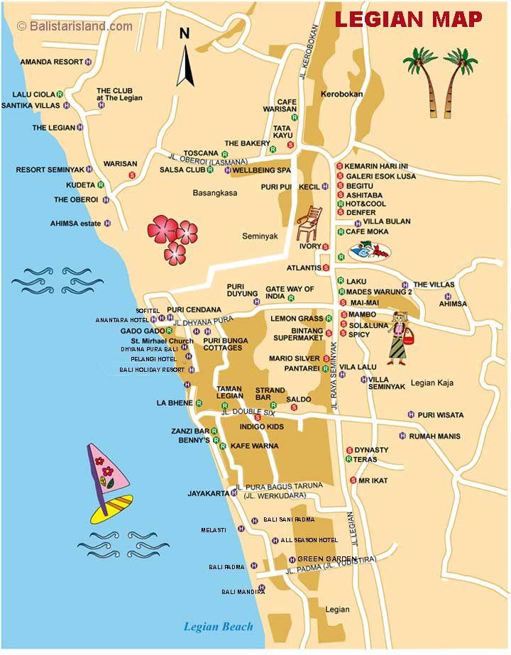 Legian Map Bali Of Beach Google Hotel Travel Guide Jalan Laksmana