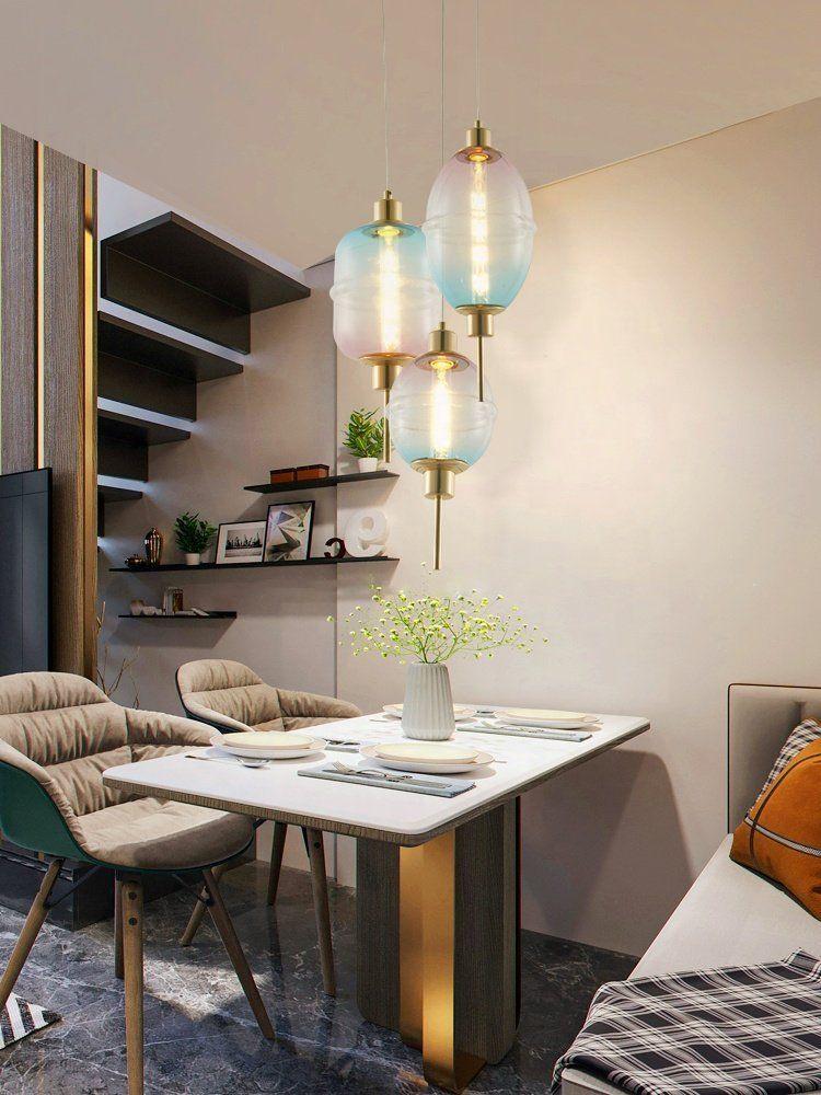 Photo of Modern smoke grey/amber/Gradient color glass lantern LED ceiling linear pendant light decor f…