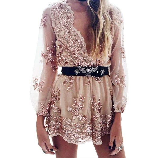Brittany Sequin Embroidery Playsuit ($34) ❤ liked on Polyvore featuring jumpsuits, rompers, sequin romper, sequin rompers, brown romper and playsuit romper